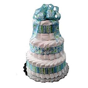 Torta De Pañales Ducha Clásica En Colores Pastel Del Bebé