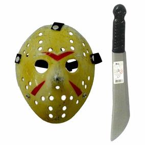 Lote 2 Armas E Mascara Jason 01 Machado 01 Facão Halloween