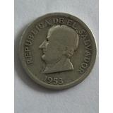 Moneda Del Salvador En Plata Del Año De 1953 De 25 Centavos