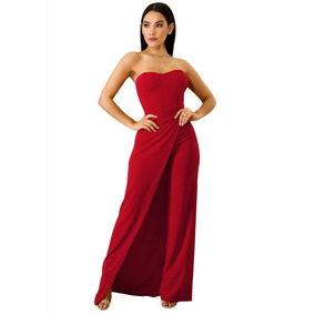 Sexy Jumper Strapless Rojo Elegante Abertura En Pierna 64377