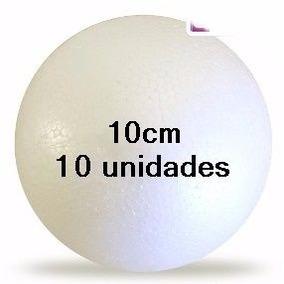 Bola Isopor 100mm Para Artesanato Biscuit Pacote 10 Unidades