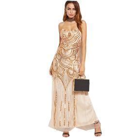 Vestido Fiesta Importado Strapless - Fino Y Elegante