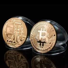 Bitcoin Moeda Física - Banhada A Ouro