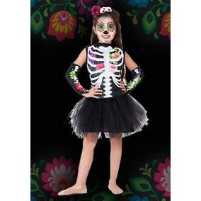 Disfraz Calaca Mexicana Bruja Halloween Niña Flores