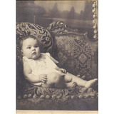 Antigua Fotografia Beba Posando En Sillon Gran Tamaño Carton