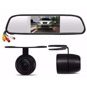 Kit Espelho Retrovisor Monitor Com Câmera De Ré Tela Lcd 4,3