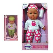 Muñeca Poppi Mi Primer Bebe Con Sonido Y Biberon 31cm