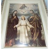 Quadro Decoração Enfeite - Moldura Antiga Sagrada Familia