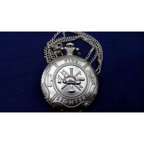 Reloj Decorado Escudo Bomberos Con Cadena De Bolsillo