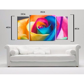 Cuadro Triptico Flores Colores Moderno 85x45cmlocal Envio