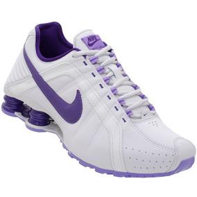 Tênis Nike Wmns Shox Junior Feminino Adulto - Branco E Roxo