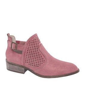 Botines Vaqueros De Mujer Tb Color Musgo Rosa Textil Bt94 A