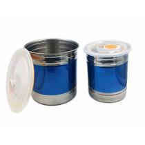 Conjunto Pote Hermético Alimentos Aço Inox 2 Peças Prático