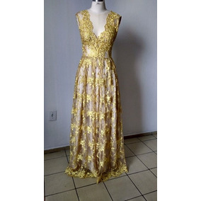 Vestido De Longo De Festa Renda Amarelo Tamanho 42