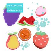 Kit Esponja Touca De Banho Banheira Infantil Frutas