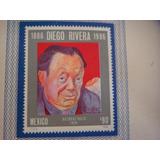 Hojilla Con Timbre Postal Centenario Natalicio Diego Rivera