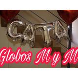 Globo Letra Metalizado De 36 Cm. Plateado.