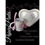 Taza Cerámica + Plato Corazón Personalizado. Envíos T/pais