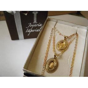 Juego Medalla Oro 10k Cadena .925 Florentina Para Boda