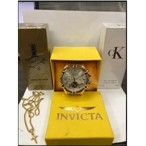Kit Com Relógio Masculino + 2x Perfume Brinde + Correntinha