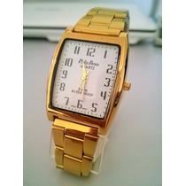 Relógio Masculino Dourado Aço .foliado A Ouro/ Prova D