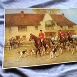 Lamina Pintura Caceria Cazadores Perros Hunting Dog 40s Rfan