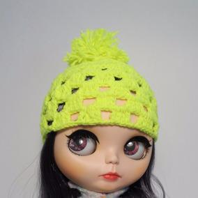 Touca Amarelo Fluorescente Boneca Blythe E Icy Crochê