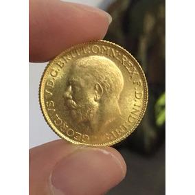 Moeda Libra Estrelina George V Em Ouro 24k 1911