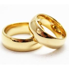 Par De Aliança Anatômica Banhada Ouro 18k Garantia Dourada