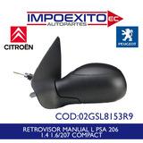 Retrovisor Manual Lh Peugeot 206 - 207 Compact Todos