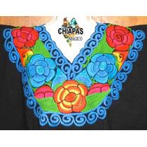 Blusa De Chiapas Bordada A Máquina / Negra Flores / Talla Xl