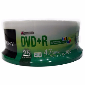 25 Midia Virgem Dvd+r Sony 16x 4.7gb Printable (pino)