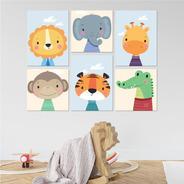 Kit 6 Quadros Decorativas Mdf P/ Quarto Infantil Safari
