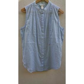 Camisa H&m Cuello Mao Celeste Amplia