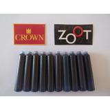 10 Cartucho P/ Caneta Tinteiro Crown /zoot / Cor Azul