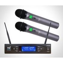 Microfone Tsi S/ Fio 8299 Duplo Uhf Mult Canais