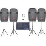Kit Mezcladora Amplificada Bluetooth Tripies 4 Bocinas 15