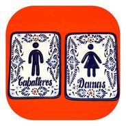 Placas Para Baño Señaletica Talavera Poblana Ps 2c