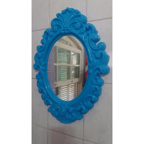 Espelho De Parede Azul Grande Plastico Oval Princess