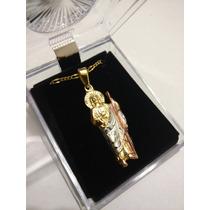 Dije De San Judas 2.5 Cm Con Cadena De Oro Laminado