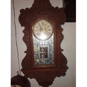Reloj Antiguo De Pared Ansonia Americano 8 Dias De Cuerda