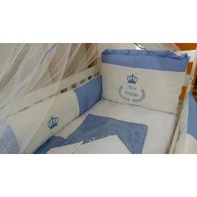 Kit Berço Tema Principe Coroa Realeza Azul Menino Completo