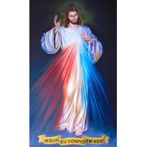 Quadro Jesus Misericordioso 50x70cm Pintura Óleo Sobre Tela