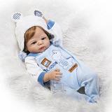 Completo Cuerpo De Silicona Reborn Baby Doll Boy Traje Azul 0f1a593cb9b7