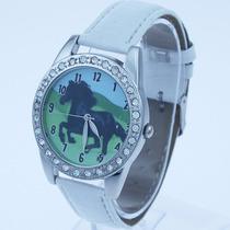 Hermoso Reloj Con Caballo Negro & Cristales, Correa Blanca