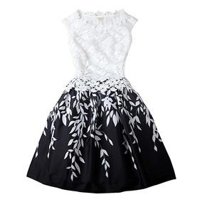 Vestido Corto Sin Manga Blanco Con Negro Moda Fiesta Casual