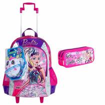 Kit Escolar Barbie Aventura Nas Estrelas Mochila Rodas Rosa