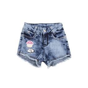 Short Jeans Com Patch Juvenil Meninas Feminino Tam. 10 Ao 16