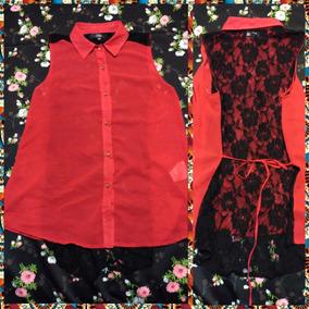 Camisa De Gasa Y Encaje Talle M-l Roja