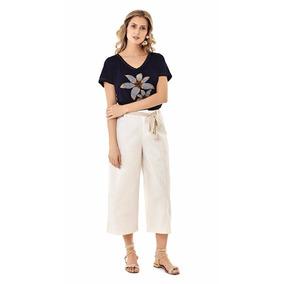 T-shirt Jeans Bordado Floral Luau Maria Valentina Ref:202317